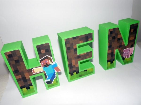 Letra 3D Minecraft Menino
